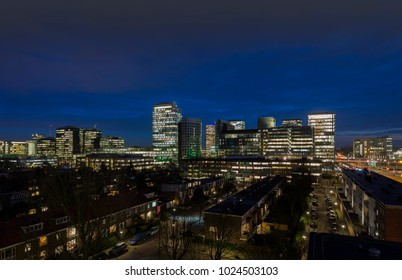 Night shot of Zuidas the Business district of Amsterdam
