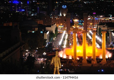The night show of singing fountains in Barcelona.  Spain