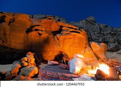 Night in Sinai desert. Nuweiba. Egypt
