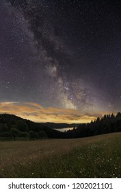 Night sky in Beskydy mountains after thunderstorm. - Shutterstock ID 1202021101