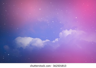night sky with cloud and stars.