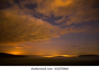 Night sky with clouds landscape