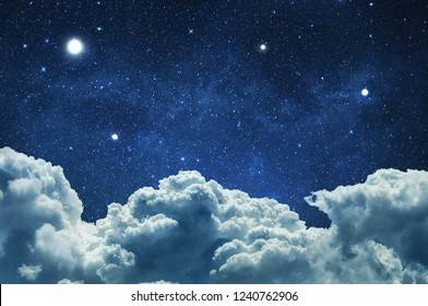 Night sky with clouds and stars
