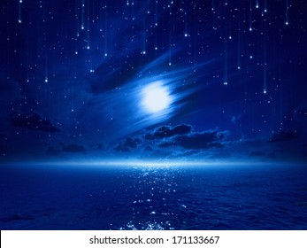 Night sky with full moon and reflection in sea, falling stars in dark blue sky, beautiful clouds.
