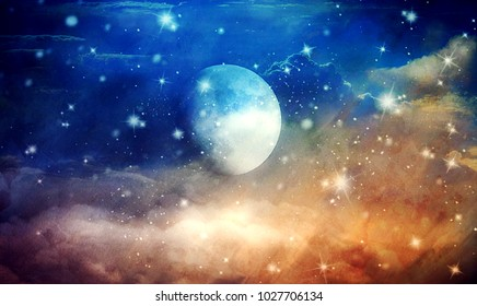 Night sky with full moon and stars, fantasy colorful illustration
