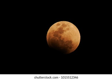 Night sky and a full moon. Super Blue Blood Moon 2018: Super Blue Blood Moon due to a Lunar Eclipse.