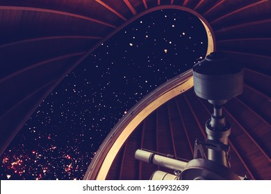NIGHT SKY FULL OF STARS OBSERVED THROUGH THE TELESCOPE IN OBSERVATORY, UNIVERSAL BACKGROUND