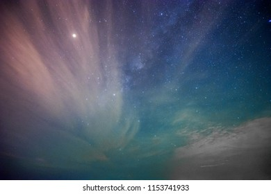 The night sky with galaxy