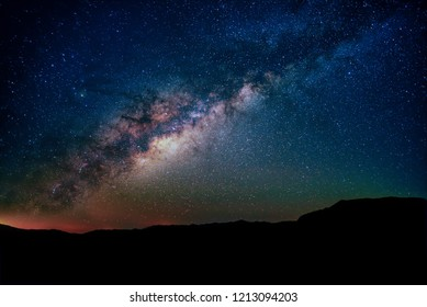 night sky galaxy stars mountains trails