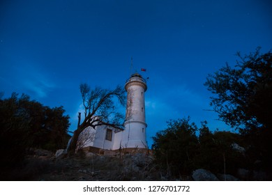 Night sky and Gelidonya Lighthouse. Lycian way, Antalya, Turkey.  - Shutterstock ID 1276701772