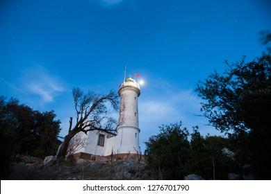 Night sky and Gelidonya Lighthouse. Lycian way, Antalya, Turkey.  - Shutterstock ID 1276701790