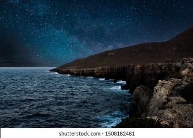 Night sky at greek island Kithira landscape