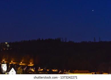 Night sky with Jupiter in the constellation Serpent Bearer and Jupiter Moons: Europe-Jupiter-Ganymed-Callisto.