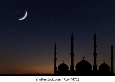 Night sky landscape mosque silhouette, Crescent moon stars, Ramadan Kareem celebration.