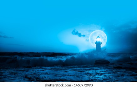 Night sky with lighthouse in the background amazing super blue moon