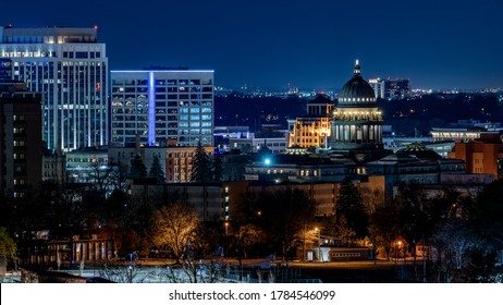 Night sky and lit up buildings of the Boise skyline