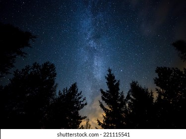 Night sky with the Milky Way over the forest and trees. The last light of the setting Sun on the bottom of the image.