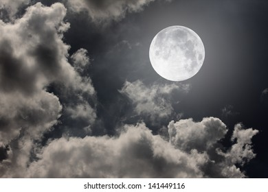 night sky with moon and clouds