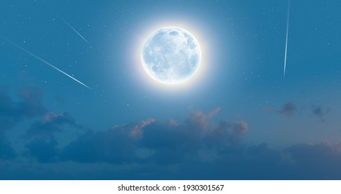 """Night sky with moon in the clouds with falling star """"Elements of this image furnished by NASA"""