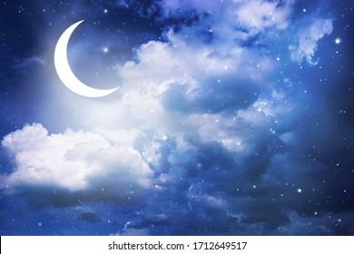 Night sky and moon, stars,Ramadan Kareem celebration.