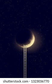 Night sky with moon and step ladder. Elements of this image furnished by NASA