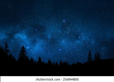 Night sky mountain landscape