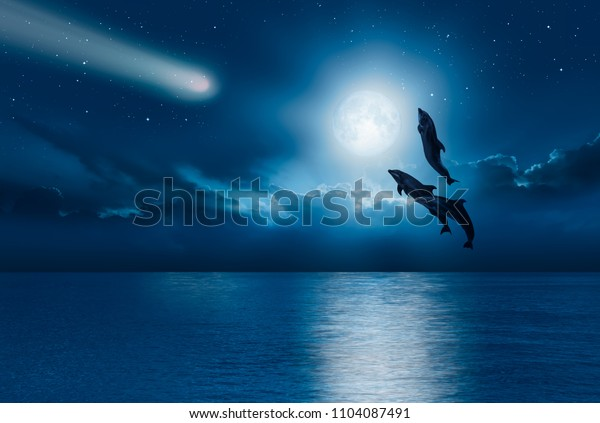 "Night sky with new moon in the clouds   - Group of dolphins jumping out of the water  ""Elements of this image furnished by NASA"