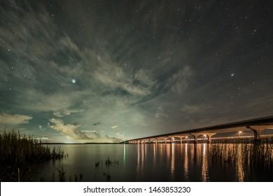 Night sky over broad river in Beaufort SC