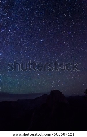 Night sky over Half Dome at Glacier Point, Yosemite National Park, CA