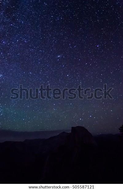 Night sky over Half Dome at Glacier Point, Yosemite National Park, CA
