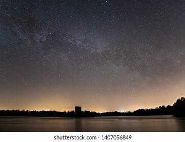 The night sky over a lake in Cavan, Ireland