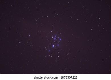 The night sky with Pleiades.