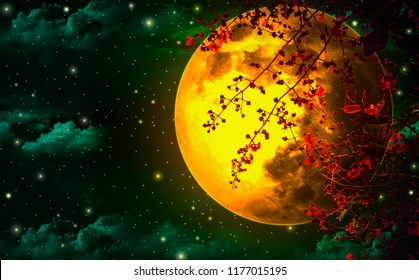 Night sky is romantic, with a large orange moon and Red leaf, floating beautifully, looking like one of the fairy tale scenes.