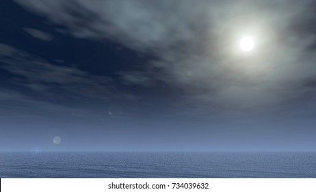 Night sky and sea background, full moon light, 3D illustration of a natural ocean, gloomy background