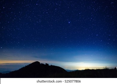 night sky with star on top of mountain - Shutterstock ID 525077806