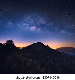 Night sky Stars and Milky Way On the Moutain