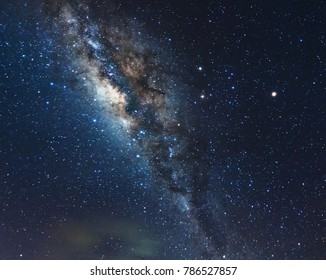 Night sky with stars and Milky Way for background purpose. Image contain soft focus and blur due to long expose. Image also contain noise and grains due to high iso.