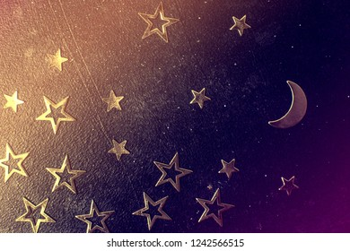 Night sky with stars and moon objects macro.