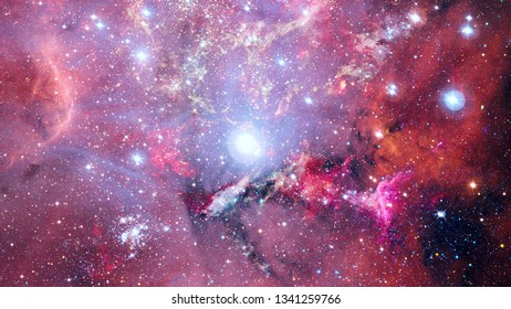 Night sky with stars and nebula. Abstract nature. Elements of this image furnished by NASA.