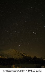 Night sky with stars in Norway at winter time.