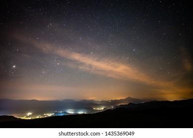 night sky with stars in slovakia