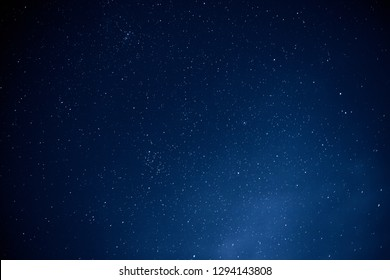 Night sky with lot of stars, space background, astrophoto with long exposure
