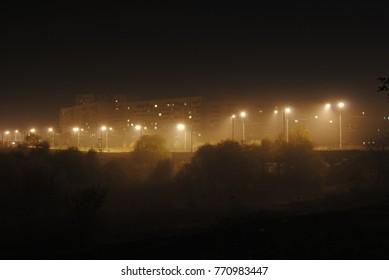night sky in street lamps
