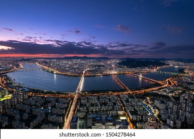 Night sky view of seoul south korea at seoul sky view point long exposure with city lights