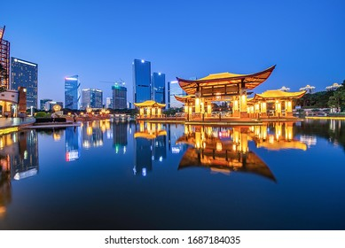 Night skyline of CBD building in Nanhai District, Foshan City, Guangdong Province, China