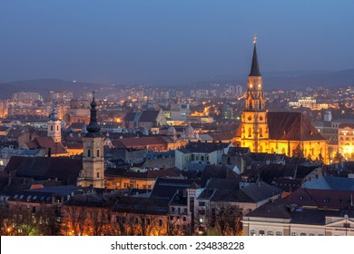 Night skyline of Cluj Napoca, Romania as seen from the Citadel Hill.
