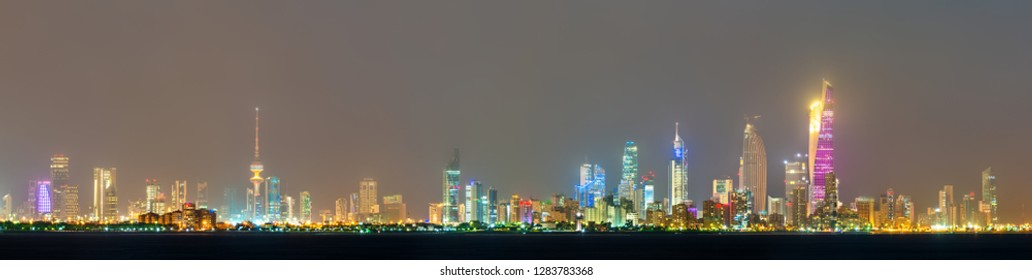 Night skyline of Kuwait City. The capital of Kuwait, a Persian Gulf country