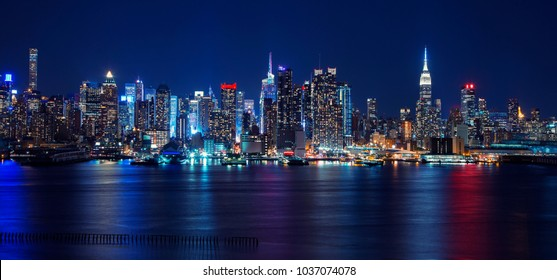 Night Skyline of New York City, USA.