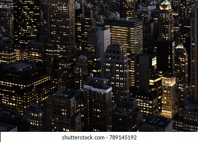 Night skyline of New York City. Urban Concept.