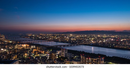 Night Skyline of Osaka City After Sunset in the Kansai Region in Japan